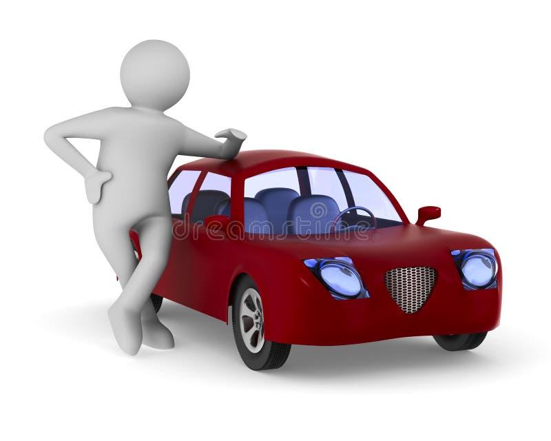 Mens en rode auto op witte achtergrond Geïsoleerde 3d illustratie royalty-vrije illustratie
