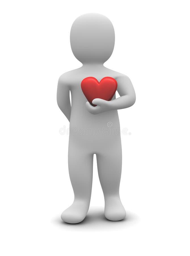 Mens en rood glanzend hart royalty-vrije illustratie