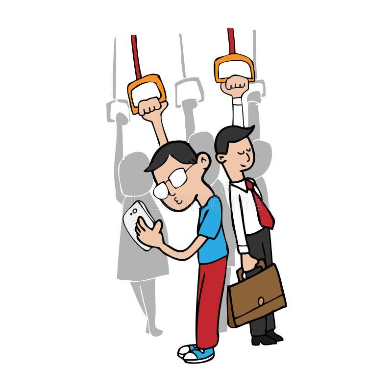 Mens en slimme telefoon op metro vector illustratie