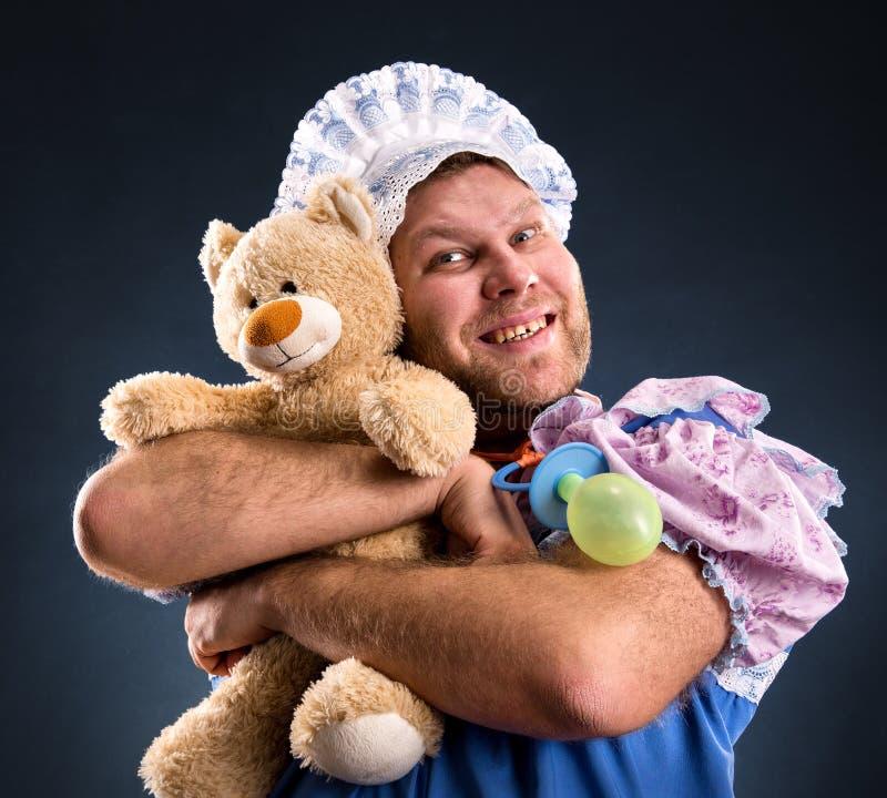 Mens en teddybeer royalty-vrije stock foto