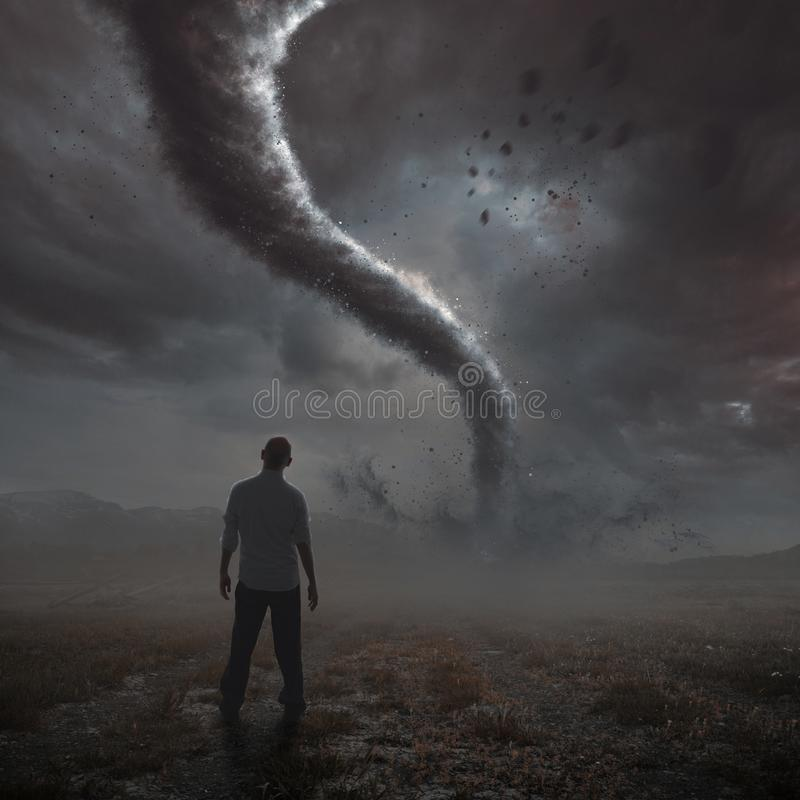 Mens en tornado stock illustratie