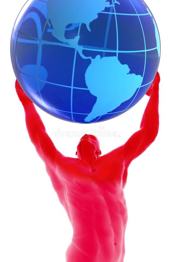 Mens en wereld royalty-vrije illustratie