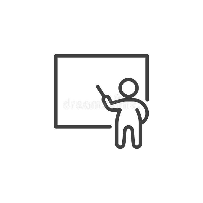 Mens en whiteboard lijnpictogram royalty-vrije illustratie