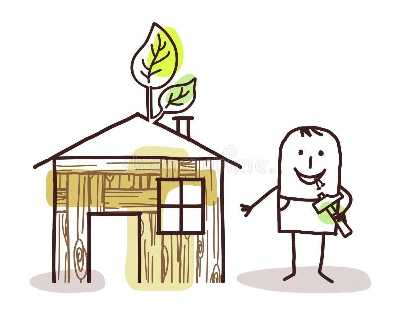 Mens en zelf-gemaakt houten huis stock illustratie