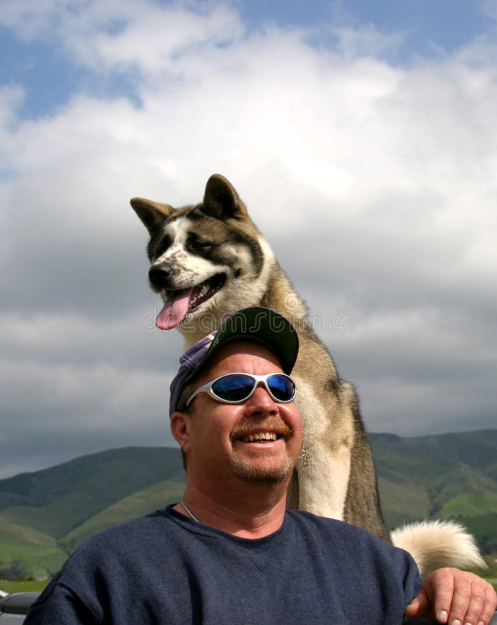 Mens en Zijn Hond royalty-vrije stock afbeeldingen