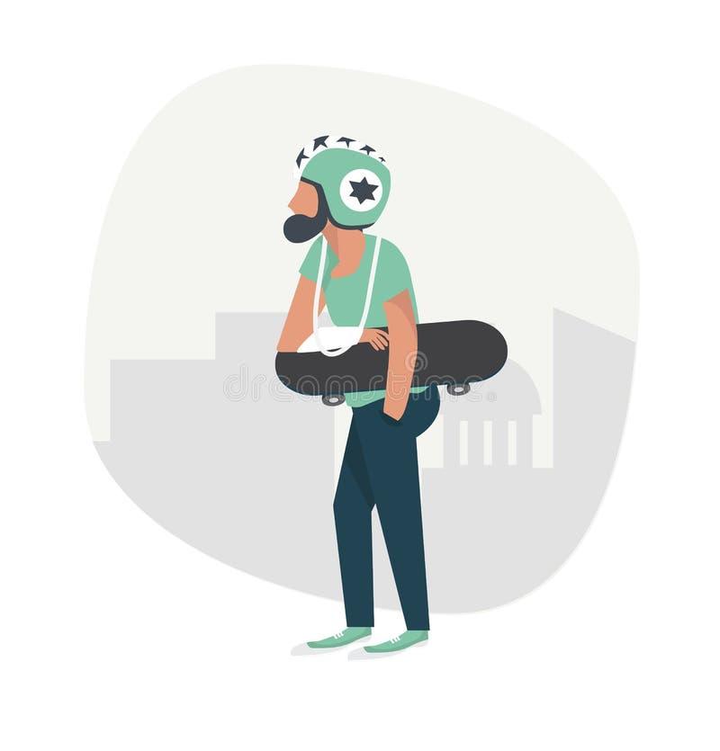 Mens gebroken die hand met skateboard wordt verwond royalty-vrije illustratie