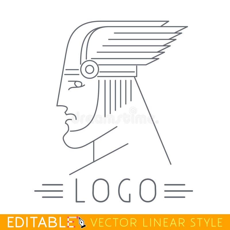Mens in gevleugelde helm Hoofd van het Grieks of Viking-god Embleemmalplaatje Editable vector grafisch in lineaire stijl royalty-vrije illustratie
