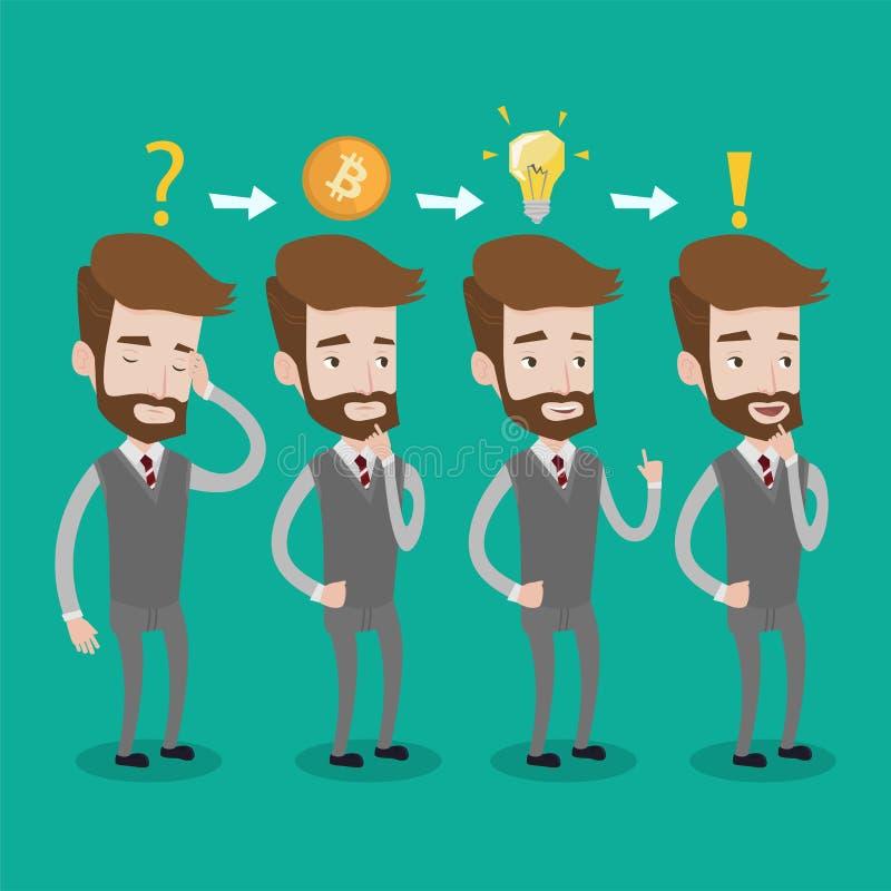 Mens geworden idee voor cryptocurrency bedrijfsproject stock illustratie