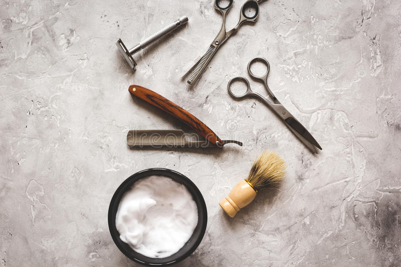 Mens hairdressing desktop with tools for shaving top view.  royalty free stock images