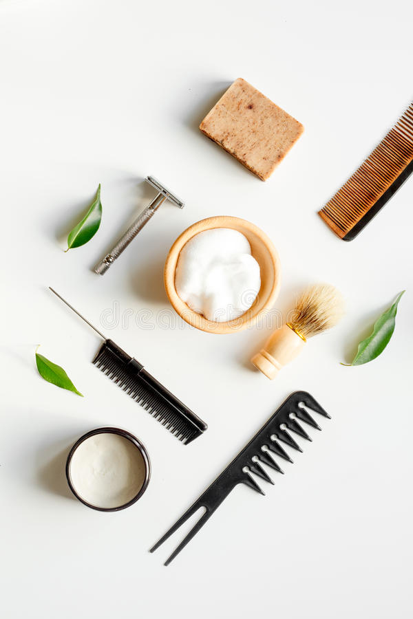 Mens hairdressing desktop with tools for shaving top view.  royalty free stock image