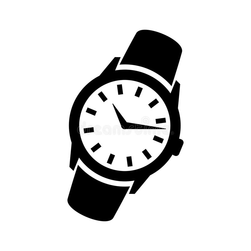 Mens hand classic wrist watch icon stock illustration