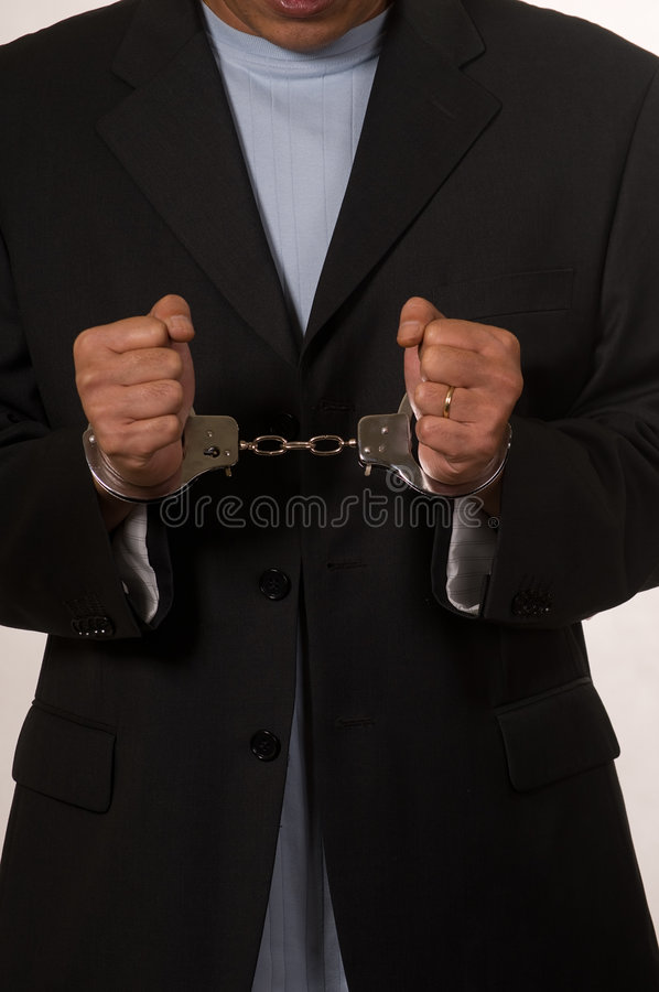 Mens in handcuffs royalty-vrije stock fotografie