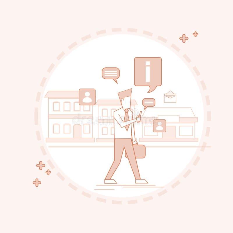 Mens het Babbelen het Lopen Straat Texting, Sociale Netwerk Communicatie dun Lijn vector illustratie