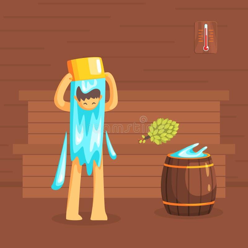 Mens het Baden in Houten Bathhouse of Sauna, Guy Washing His Body Vector-Illustratie royalty-vrije illustratie