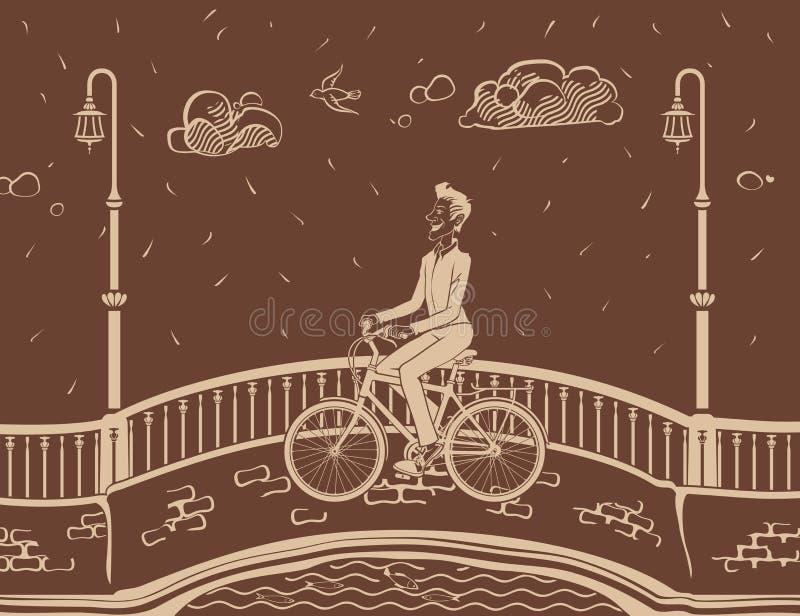 Mens het bicycling in Stad stock foto