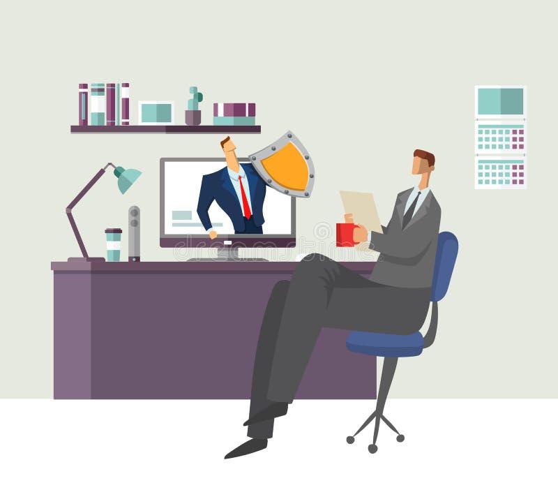 Mens in het document van de bureaulezing met de beschermde mens die zijn computer beschermen Het beschermen van Uw Persoonsgegeve stock illustratie
