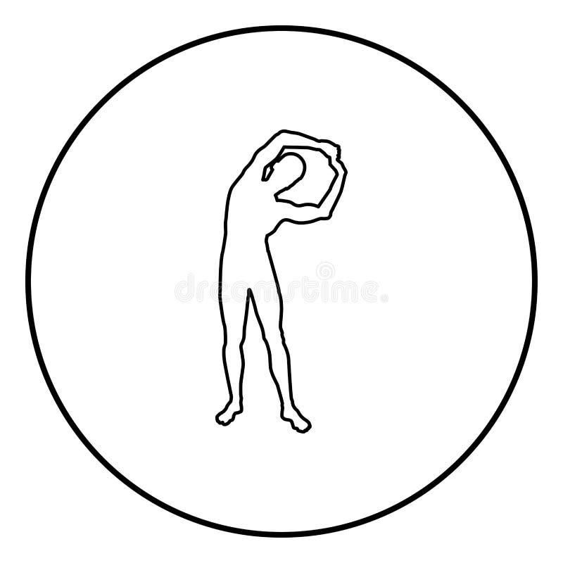 Mens het doen oefent schuine standen binnen uit aan de zij van het de Trainingsilhouet van de Sportactie mannelijke van het de yo stock illustratie