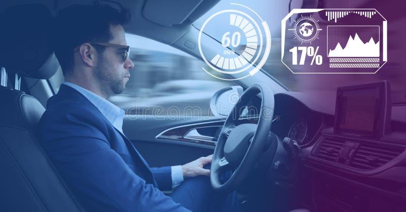 Mens het drijven in auto met hoofden op vertoningsinterface stock afbeelding