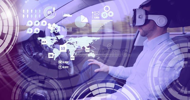 Mens het drijven in auto met hoofden op vertoningsinterface en virtuele werkelijkheidshoofdtelefoon stock afbeelding