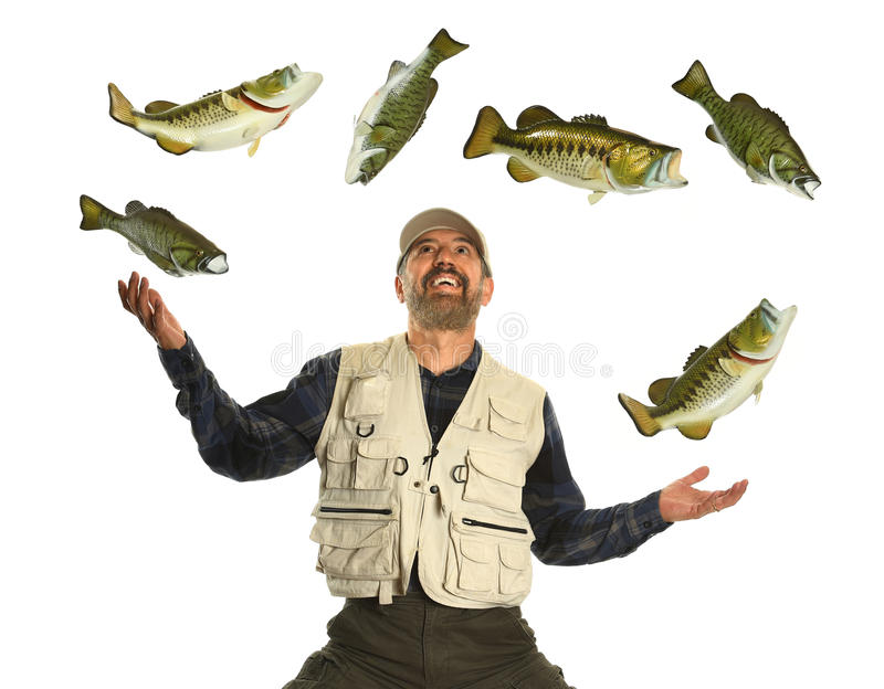 Mens het Jongleren met Vissen over witte achtergrond worden geïsoleerd die royalty-vrije stock afbeeldingen