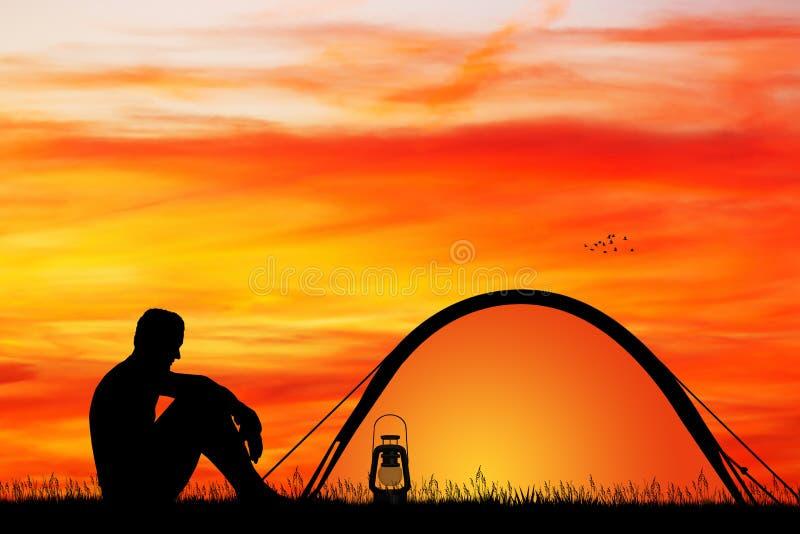Mens het kamperen tent stock illustratie