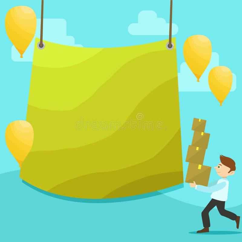 Mens het Lopen Dragende Stapel van Dozen en Verspreide Gele Ballons Het lege Kleurengeteerd zeildoek Hangen in het Centrum creati stock illustratie
