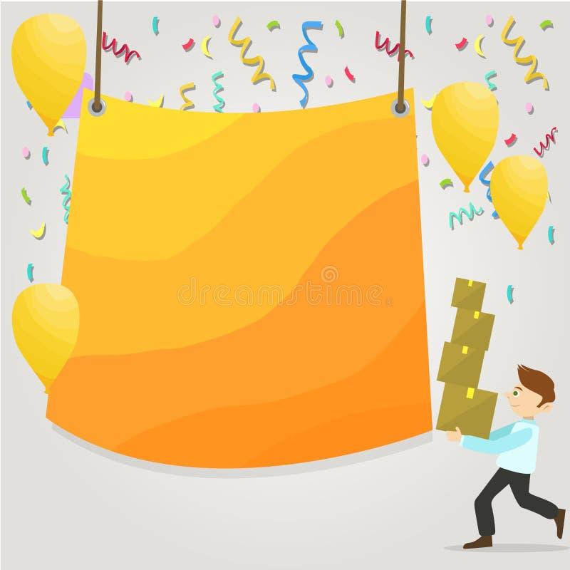 Mens het Lopen Dragende Stapel van Dozen en Verspreide Gele Ballons Het lege Kleurengeteerd zeildoek Hangen in het Centrum creati vector illustratie