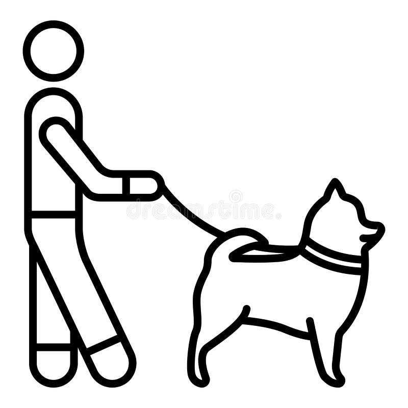 Mens het lopen hondpictogram, overzichtsstijl vector illustratie