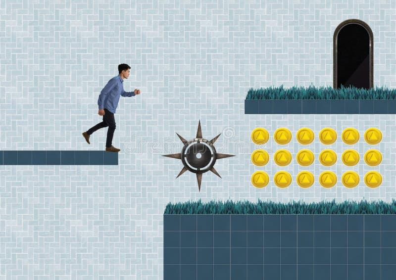 Mens in het Niveau van het Computerspel met muntstukken en val stock illustratie