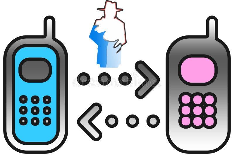 Mens het onderscheppen gesprekken tussen smartphones vector illustratie
