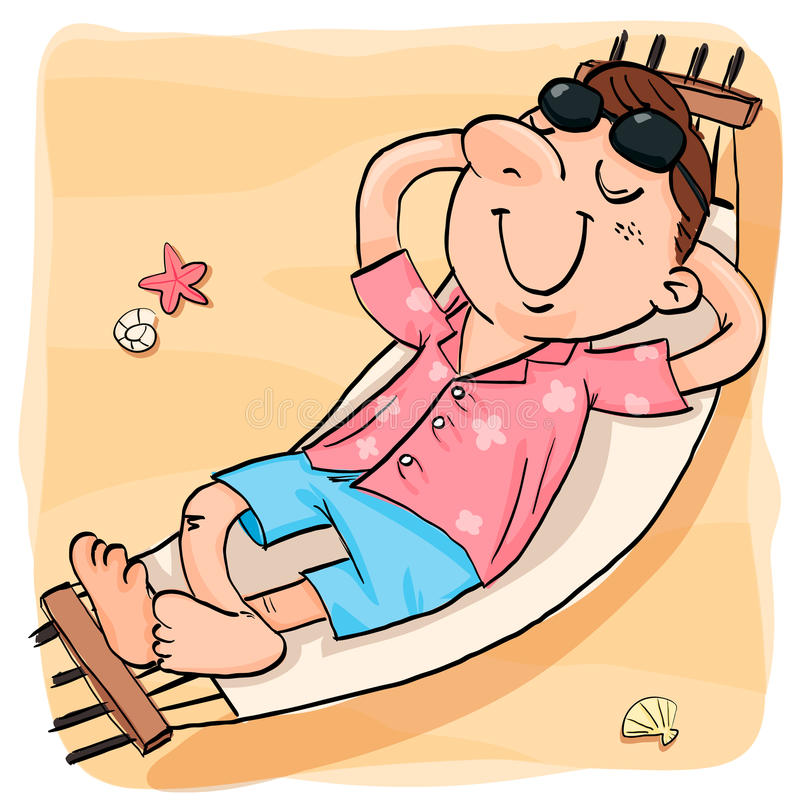 Mens het ontspannen in de hangmat op het strand vector illustratie