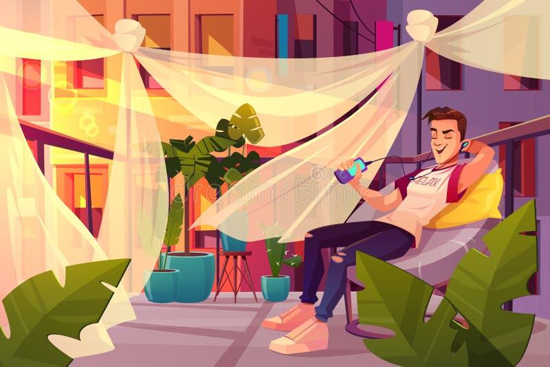 Mens het ontspannen op het beeldverhaalvector van het koffieterras vector illustratie