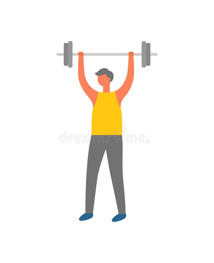 Mens het Opheffen Gewicht, Fitness Training en Sport stock illustratie