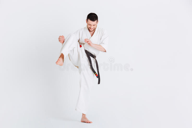 Mens het praktizeren karate stock afbeeldingen