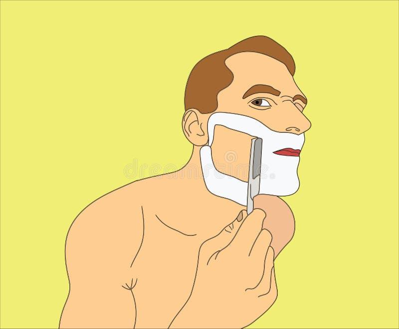 Mens het scheren scheermes stock illustratie
