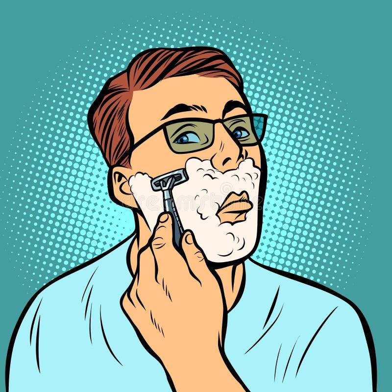 Mens het scheren scheermessen vector illustratie