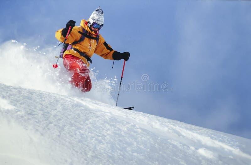 Mens het ski?en poedersneeuw in Oostenrijk royalty-vrije stock afbeeldingen
