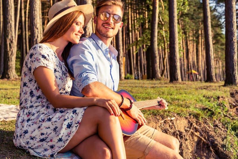 Mens het spelen gitaar aan zijn meisje op een picknick stock foto