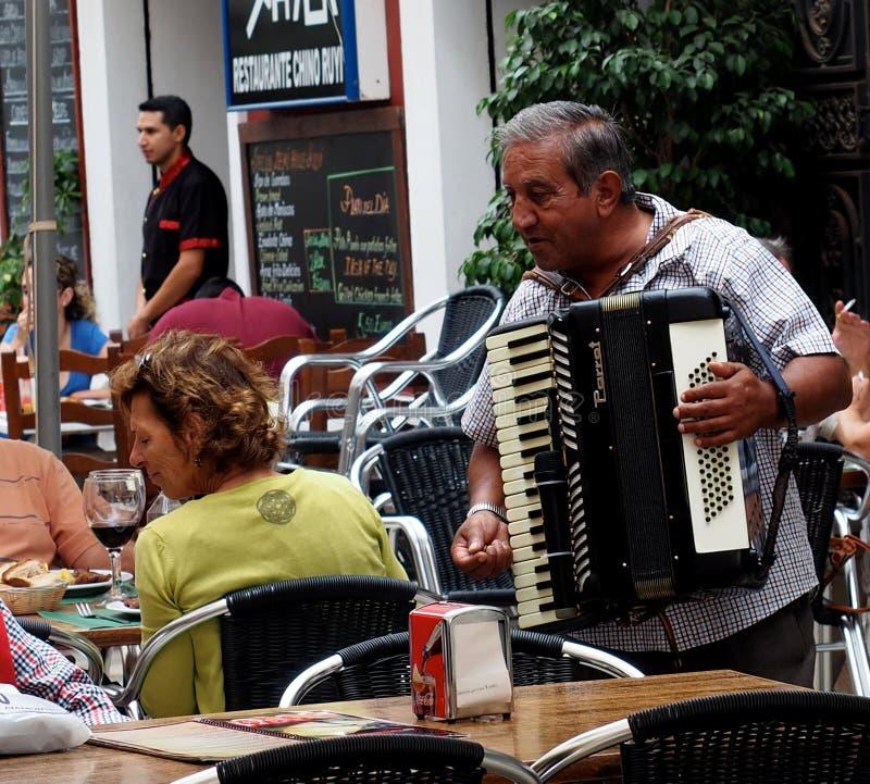 Mens het Spelen Harmonika in Ayamonte Spanje stock afbeelding