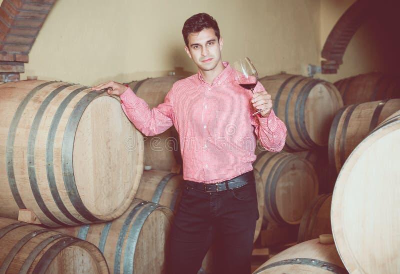 Mens het stellen in wijnmakerijkelder stock foto's