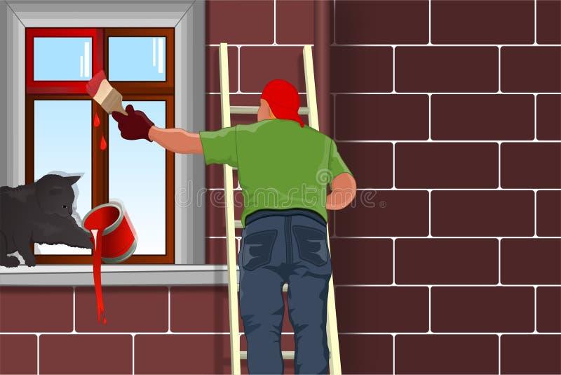 Mens het sterven vensters stock illustratie