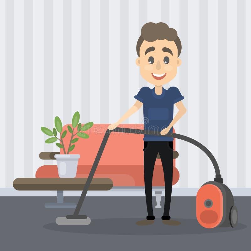 Mens het vacuüm schoonmaken stock illustratie