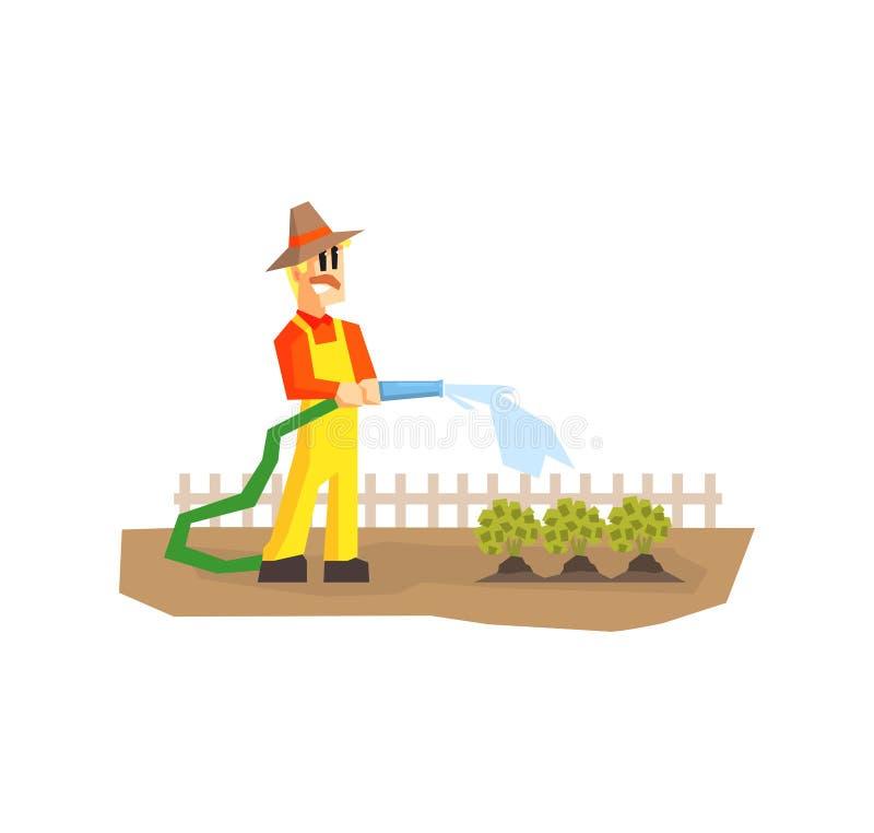 Mens het Water geven Installaties met Slang, Landbouwer Working in Tuin of Landbouwbedrijf Vectorillustratie stock illustratie