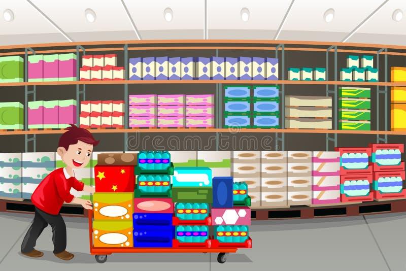 Mens het winkelen vector illustratie