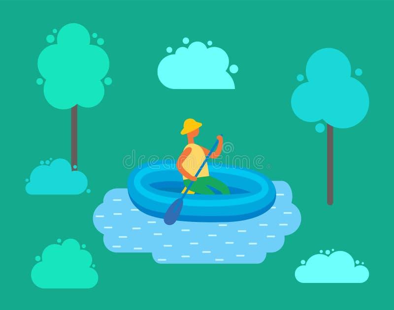 Mens in Hoed die op Opblaasbare Rubberboot zwemmen royalty-vrije illustratie