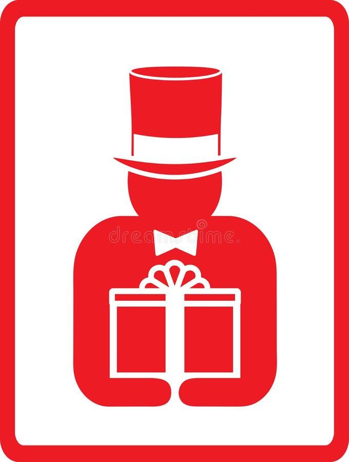 Mens in hoed met gift vector illustratie