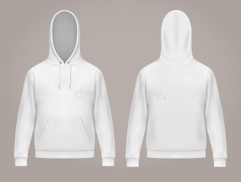 Mens hoodie of voorzijde en rug van witte hoody mensen stock illustratie