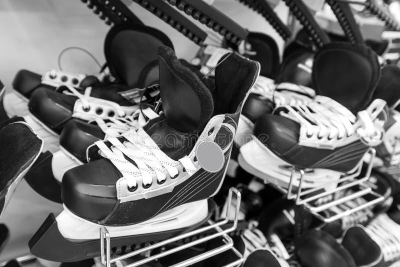 Mens ice hockey skates in store. A Mens ice hockey skates in store stock images