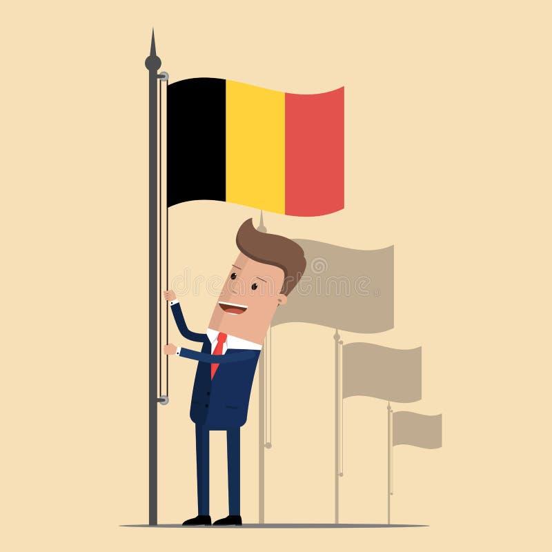 Mens in kostuum, zakenman die golvende vlag van België opheffen Vector illustratie stock illustratie