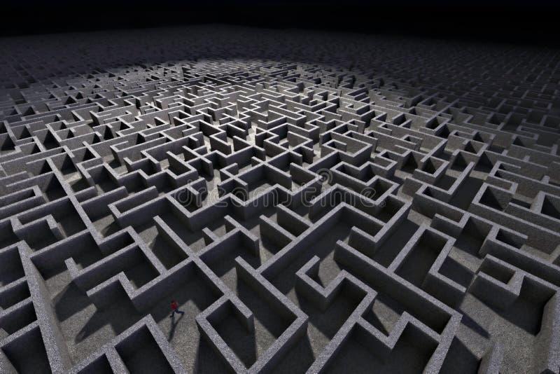 Mens in labyrint stock illustratie